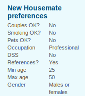 housemates preferences